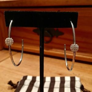 Henri Bendel 3/4 Silver plate Hoops w Crystal Ball